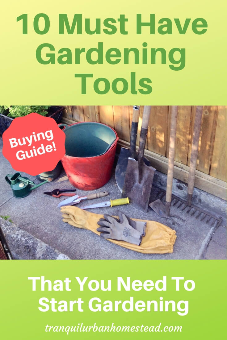 10 gardening tools laid out