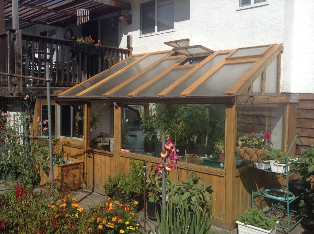cedar lean-to greenhouse