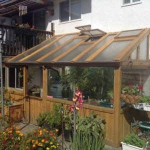 cedar lean-to greenhouse