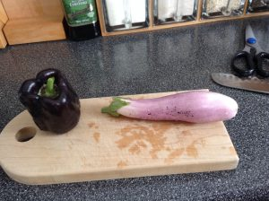 Eggplant and Pepper