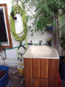 greenhouse sink with hot and cold running water
