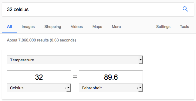 temperature conversion in google search