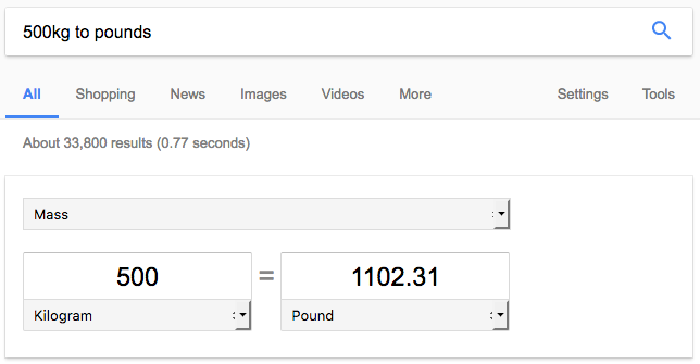 weight conversion in google search