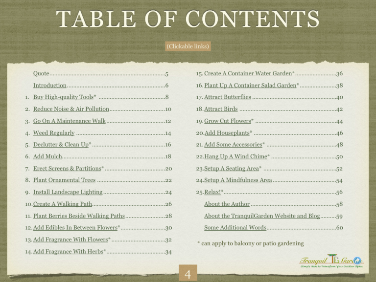 TG table of contents