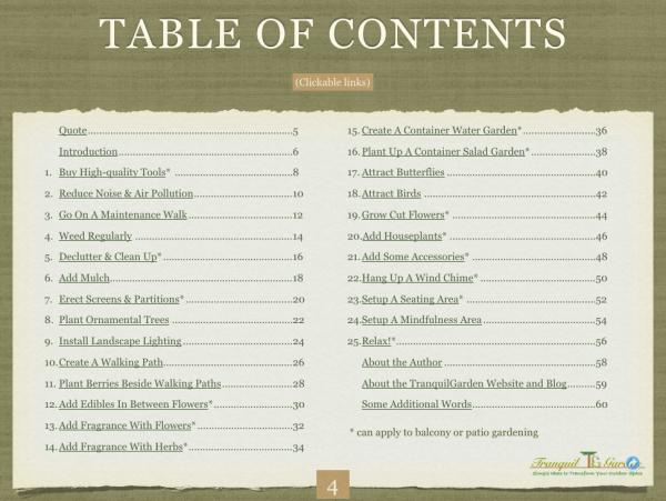 Tranquil Garden eBook - 25 simple ideas to transform your garden
