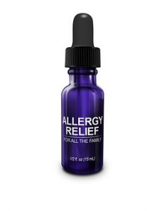 allergy relief in purple bottle with eye dropper top