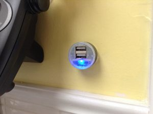 Charging plug in kitchen being fed from solar panel