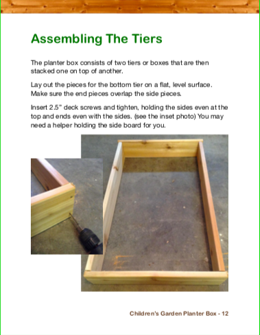 Children's Garden Planter Box eBook Example Page