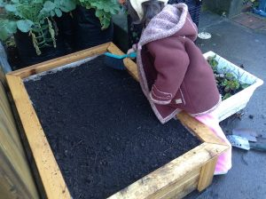 cleaning up after filling with compost