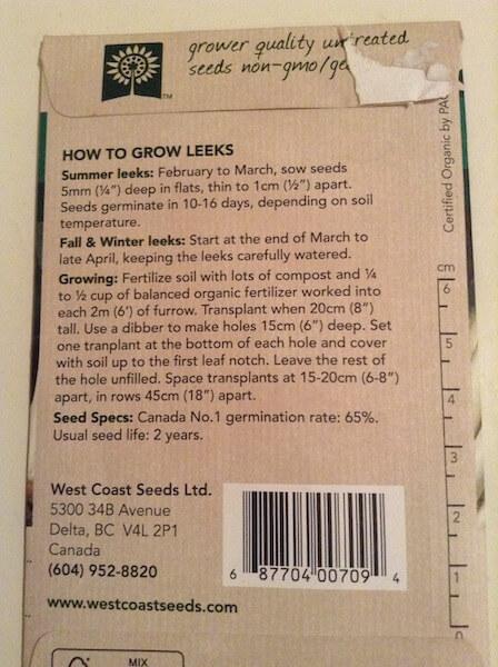 back of leek seed packet