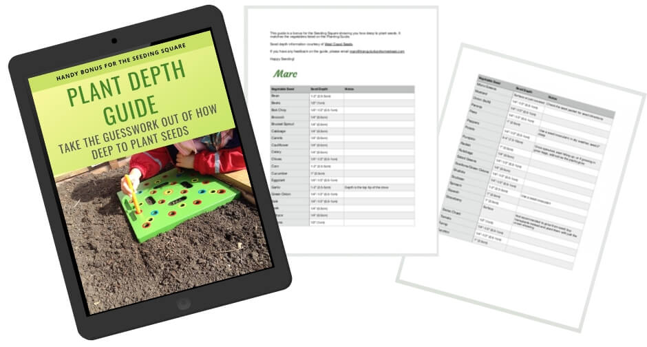 Plant Depth Guide for Seeding Square spread
