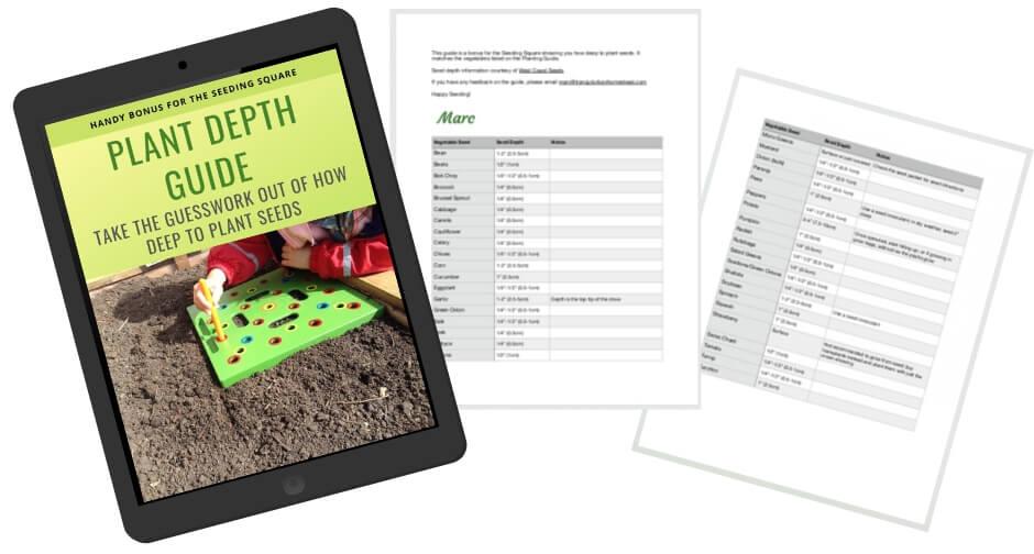 Plant Depth Guide for Seeding Square spread