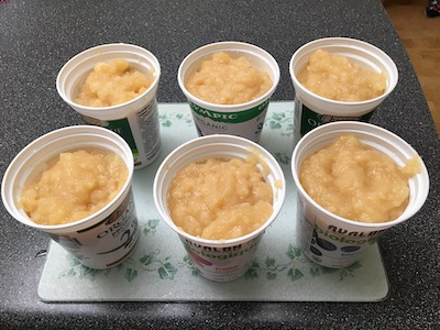 applesauce ready for freezing